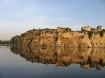 View of the Bhainsrorgarh Fort Hotel from across the Chambal River