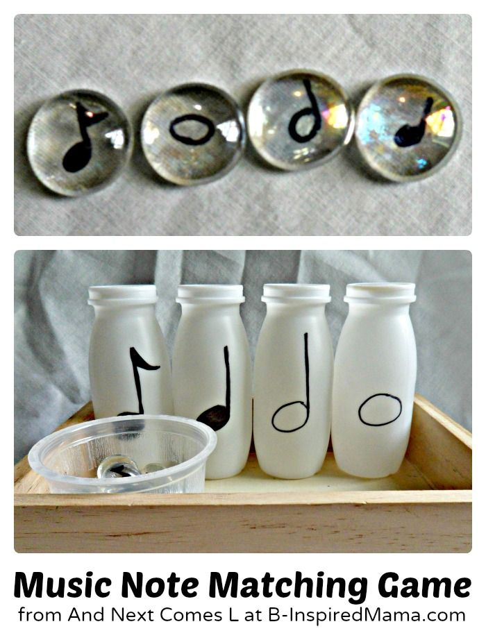 Make a simple Music Note Matching Game to introduce Music Theory for kids as young as toddlers and preschoolers!