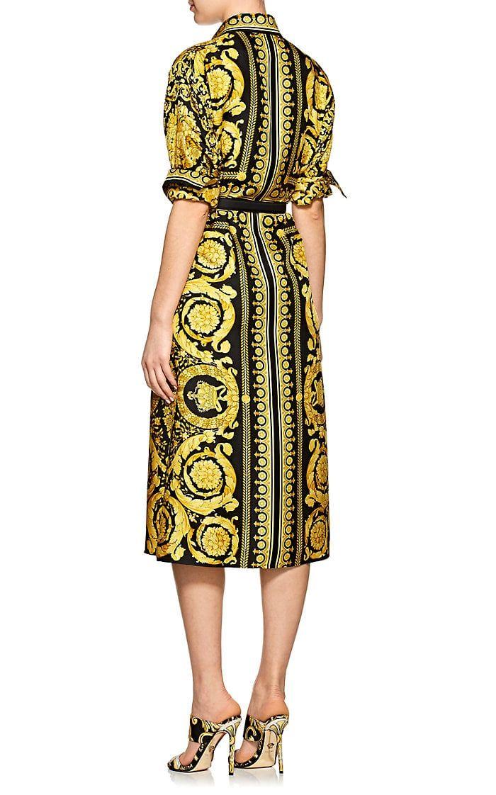 7a6808d5637 Versace Women s Baroque-Print Silk Belted Shirtdress - Gold di 2019 ...