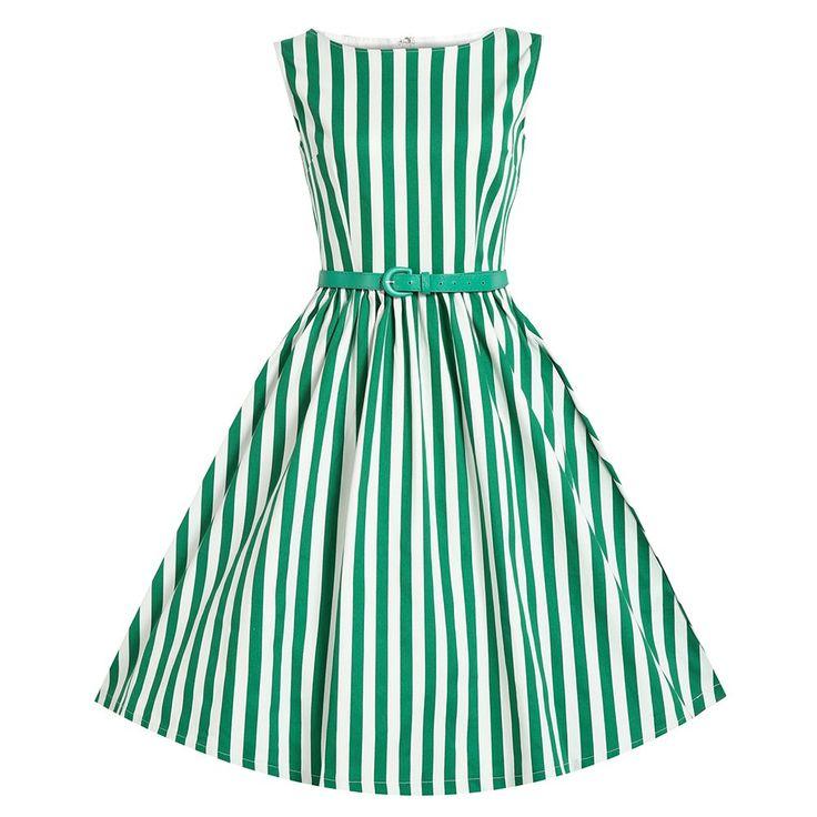 Audrey Green Stripe Swing Dress