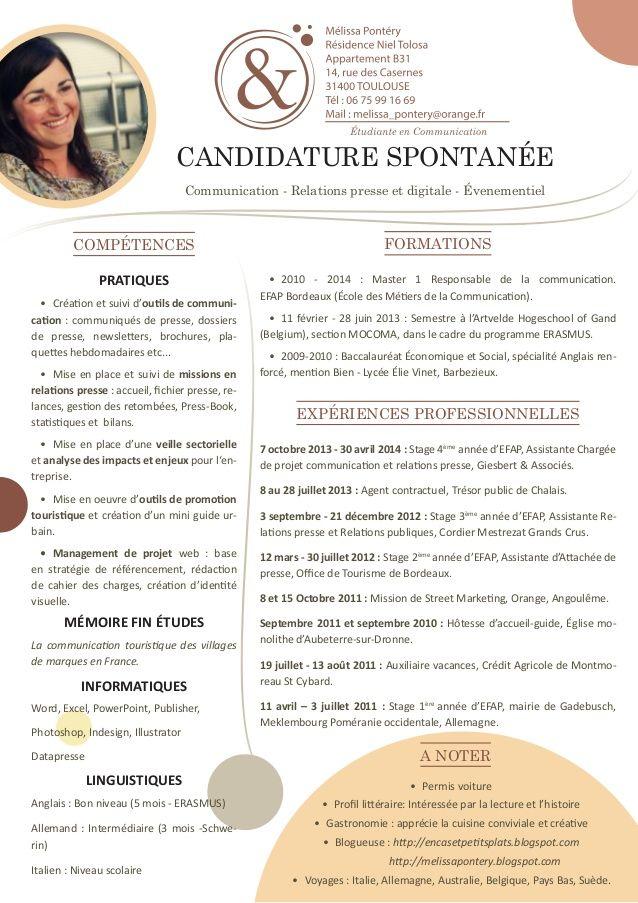 CV Marketing Communication Design Cv étudiant, Modèle cv