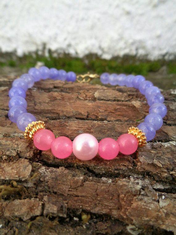 Pastel love OOAK friendship bracelet / Bohemian bracelet / Summer bracelet/ jade beaded bracelet / semiprecious jewelry / Ethnic bracelet