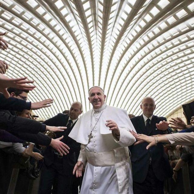 Papa Francesco duRante un'udienza in Vaticano nella sala Paolo VI della diocesi di Cassano allo Jonio, in provincia di Cosenza
