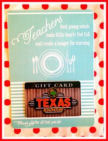 Teacher appreciation - restaurant gift card presentation