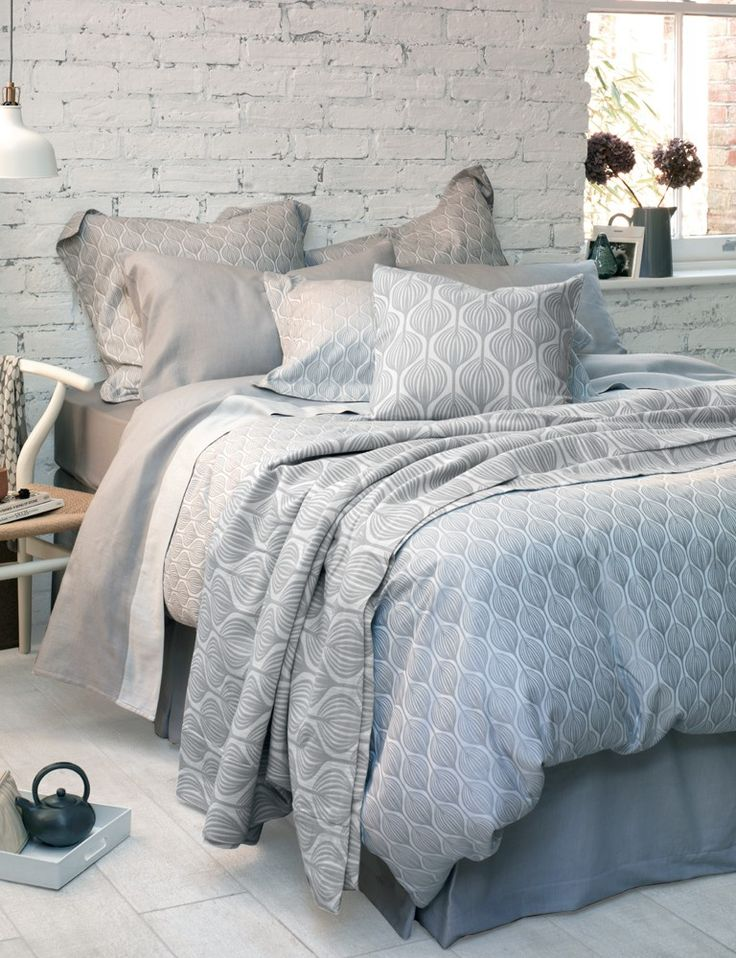 Teasels Dove Grey Bedding Set, Dove Grey Flat Sheet with an open brick wall