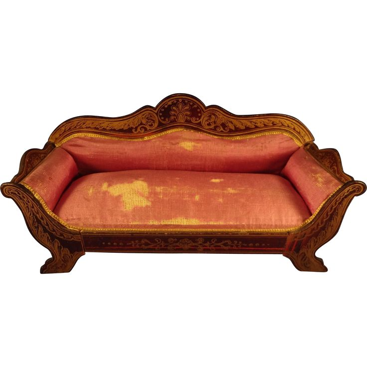 Inspirational Large Doll House Scale Biedermeier Sofa with Original Silk Upholstery