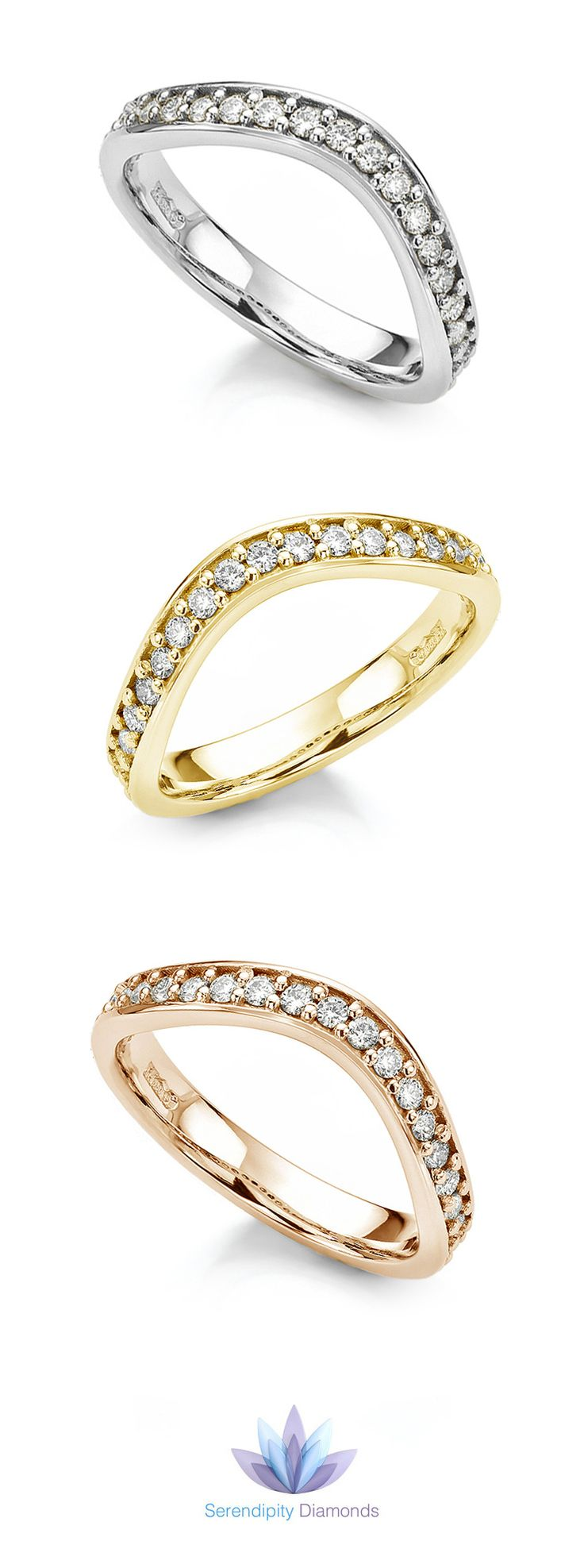 Gently Shaped Diamond Set Wedding Ring A Gentle Curve Designed To Flow  Around An Engagement