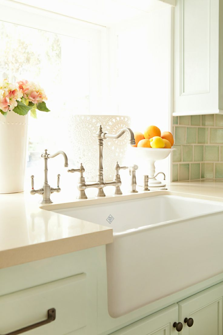 Farmhouse sink - reminder to carefully think through plumbing: faucet, hot water, dish soap for main sink. Faucet and soap for prep sink