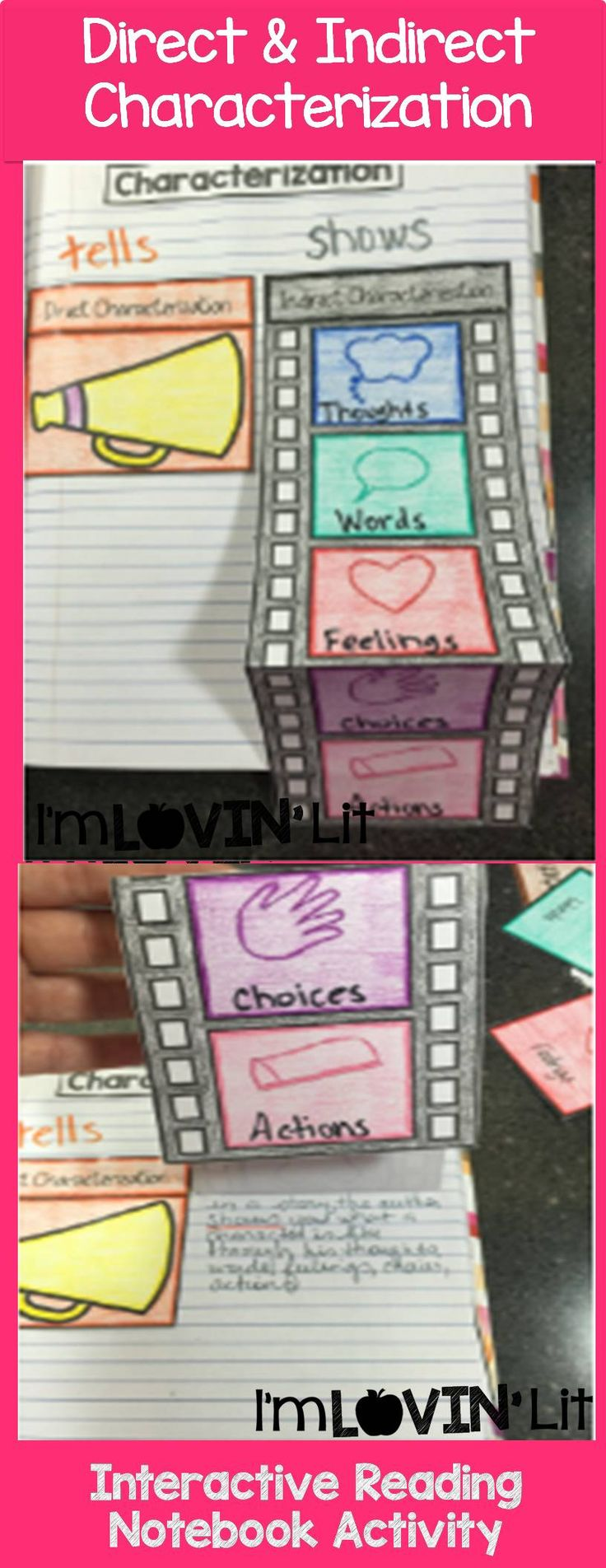 Direct and Indirect Characterization Foldable, Direct and Indirect Characterization Interactive Notebook Activity by Lovin' Lit from the ALL NEW Interactive Reading Literature Notebooks, Part 2
