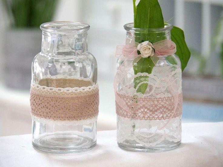 2 Vasen Hochzeit Vintage Tischdeko Gläser Spitze Rosa MARINA