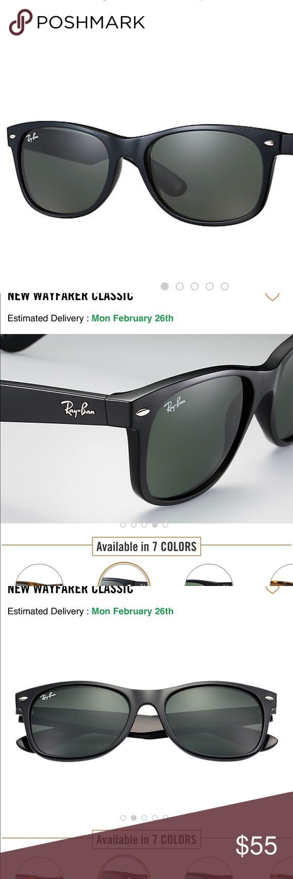 Ray Ban WAYFARER CLASSIC in Black FRAME & LENSES  Frame material: NylonFrame color: Black Lenses: Green Classic G-15 SIZE  Shape: Square Size Lens-Bridge: 52 18 Temple Length: Ray-Ban Accessories Sunglasses