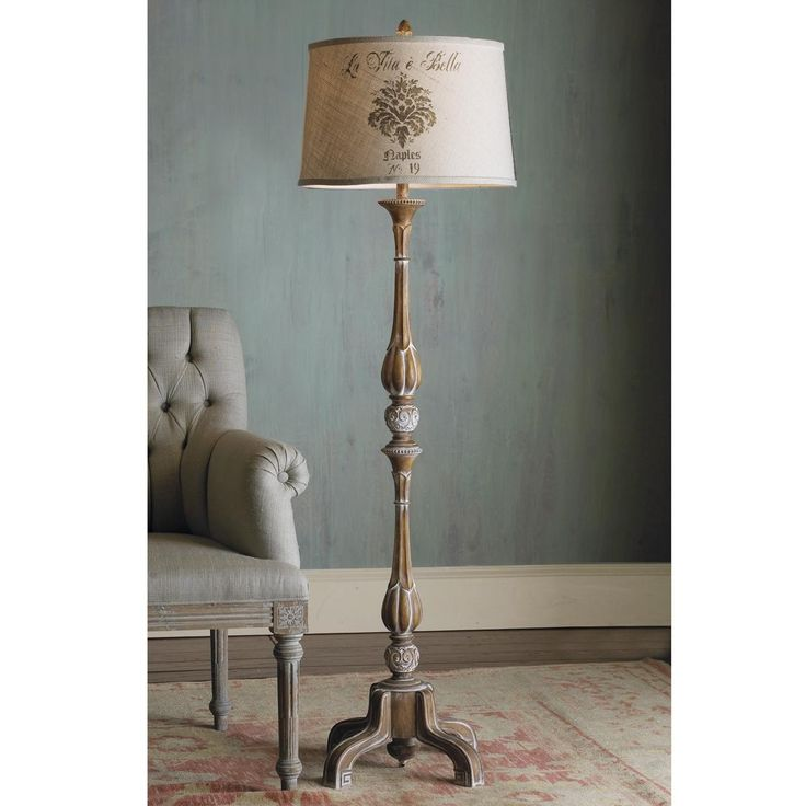 French Provincial Pickled Wood Floor Lamp