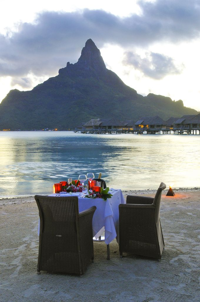 Romantic beach dinner in Bora Bora