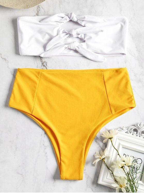 2a84b711de60d Knotted High Waisted Bandeau Bikini #swimsuits,#bikini,#swimsuit,bathing  suits,#monokini,#zaful,#cute-swimsuits,#bikini-online,#swimwear,bikini  swimwear ...