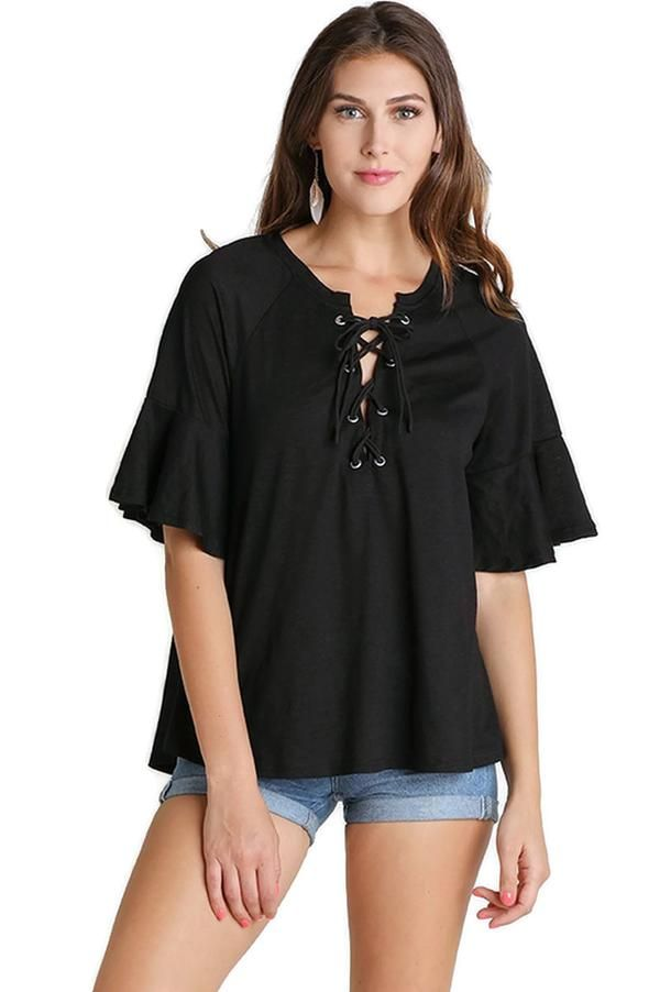 f0e27ec6684 Lace Up Bell Sleeve Top, Black in 2019 | Casual & Comfy | Tops ...