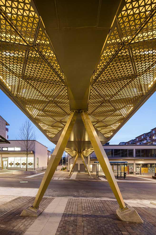 /Rinkeby bridge - lighting design by Black ljusdesign/ - lighting design - bridge lighting - perforated metal - public spaces - golden light