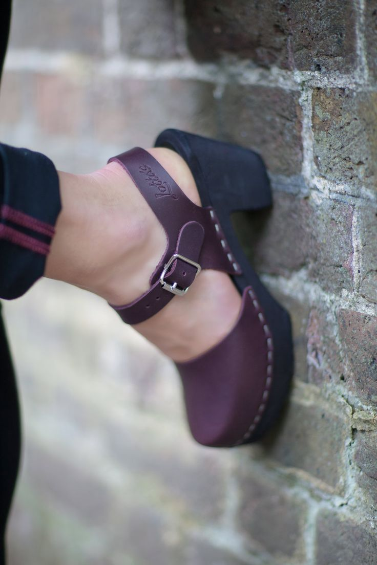 Lotta From Stockholm Highwood Aubegrine clogs with painted black wooden sole