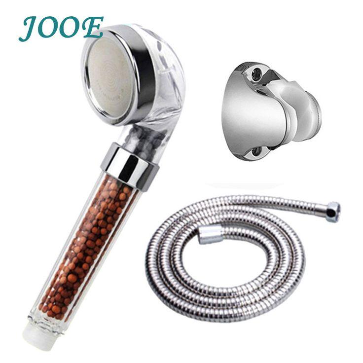 JOOE ABS Chrome large anion health care shower head negative ion water shower filter+1.5 m shower hose+shower holder A012