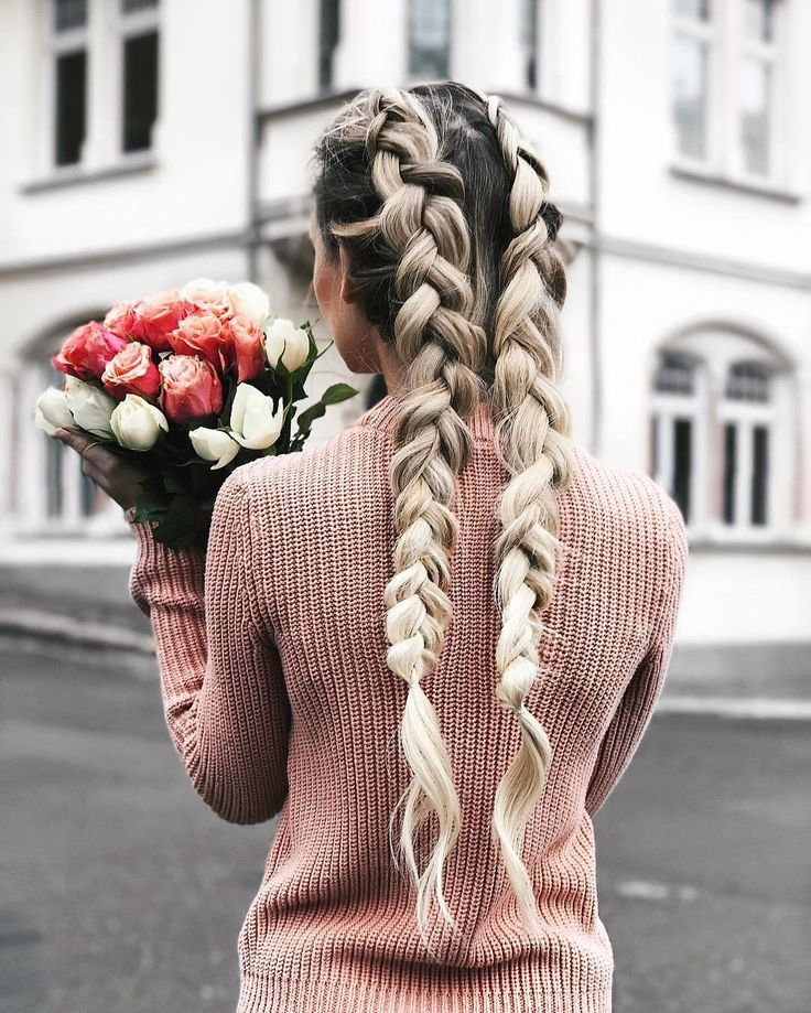 Dutch braid | double | two | blondes | pigtail | ombre