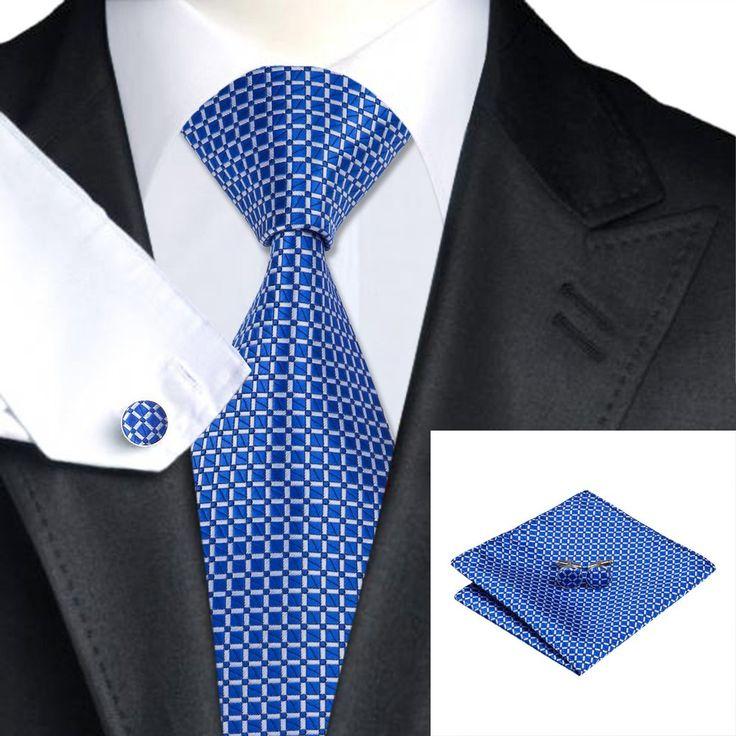 Blue and White Square Tie/Pocket Square/Cufflink Set - Men's tie, wedding