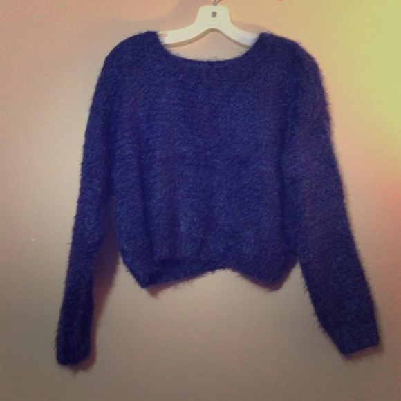 Navy cropped sweater Fuzzy cropped navy sweater. Sweaters Crew & Scoop Necks