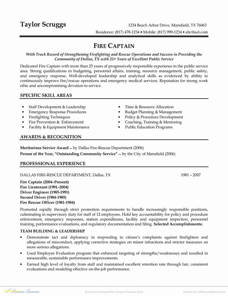 Entry Level Firefighter Resume Awesome 10 Firefighter