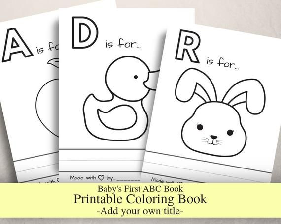 Baby S First Abc Book Without Titles Baby Shower Game Coloring Book Printable Pdf Letter Size Prefilled Coloring Pages In 2021 Abc Book Abc Coloring Pages Baby Abc Book