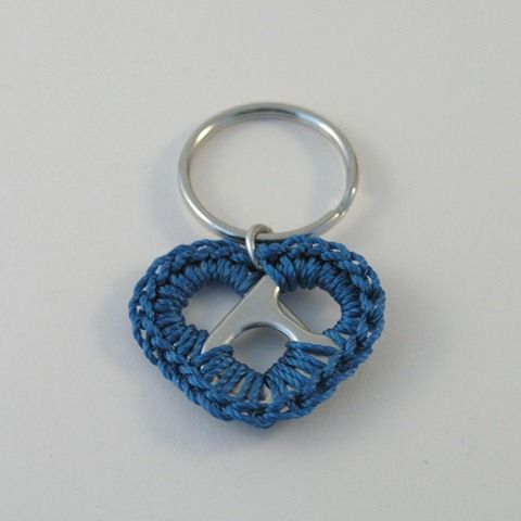 day 122. blue pop tab heart keychain