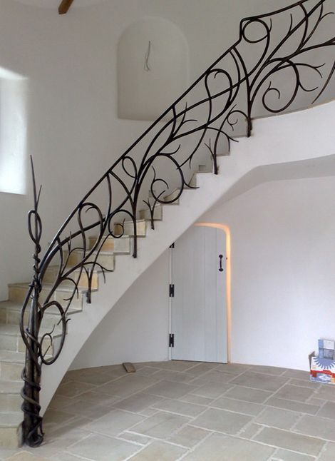 Iron staircase rail.