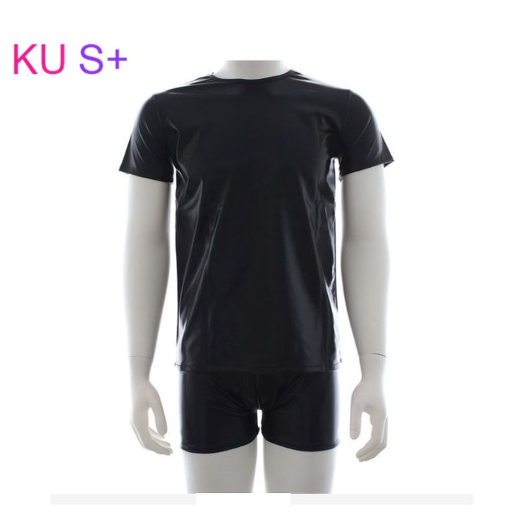 23.75$  Watch here - http://alikj7.shopchina.info/go.php?t=32798143151 - KU S+ Black Leather Gay Bodybuilding Short-Sleeve T-shirt +U Convex Boxer Underwear Sexy Lingerie Fitness Tops Tees T Shirts  #buychinaproducts