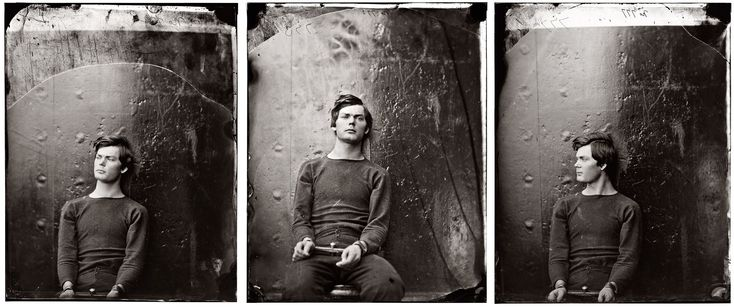 Three views of Lewis Payne (a.k.a. Lewis Powell) in April 1865, three months before his execution by hanging, wearing the same sweater