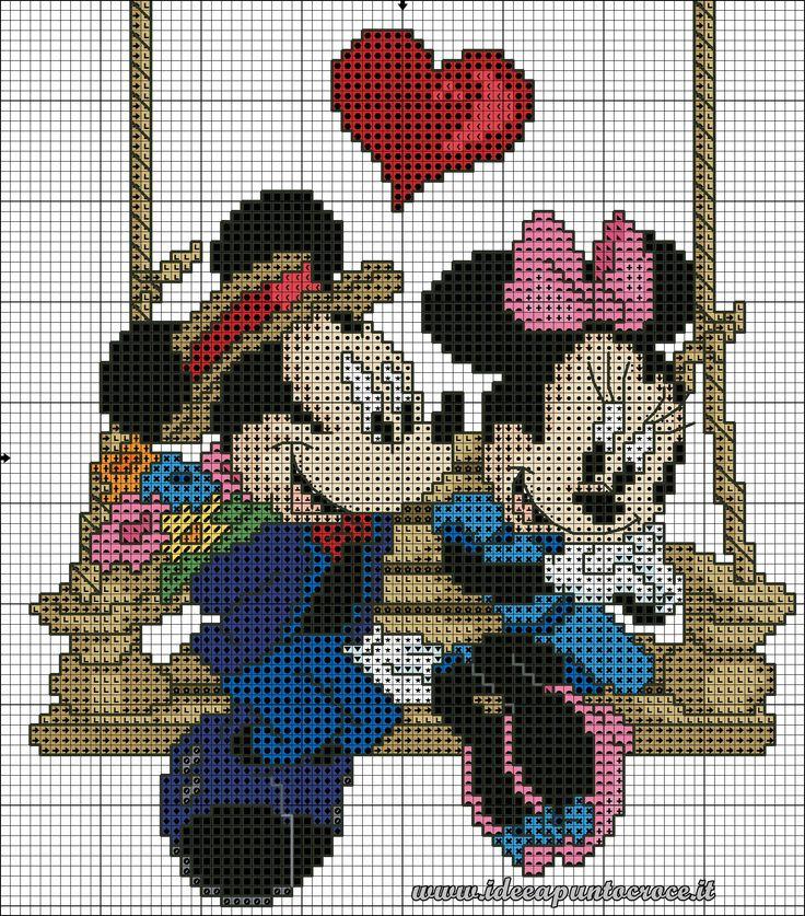Mickey & Minnie on swing 1 of 2