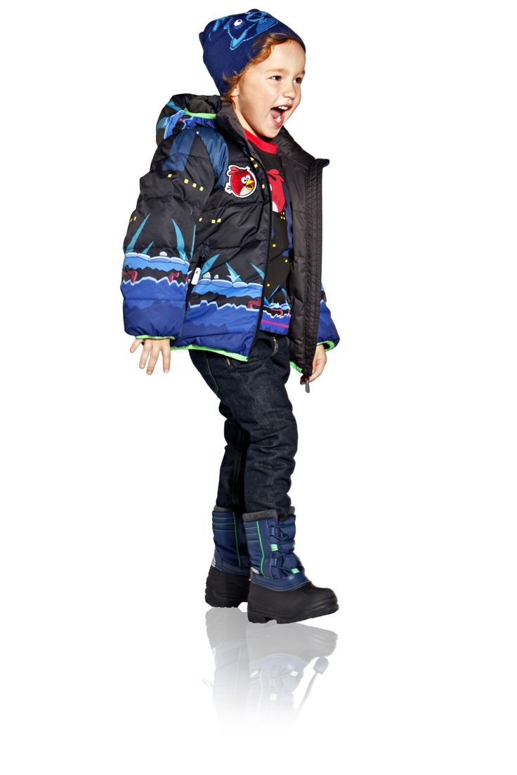 $115  Kids' reversible winter jacket with zipper pocket on printed side.   [Angry Birds™ Reima® winter collection 2013]