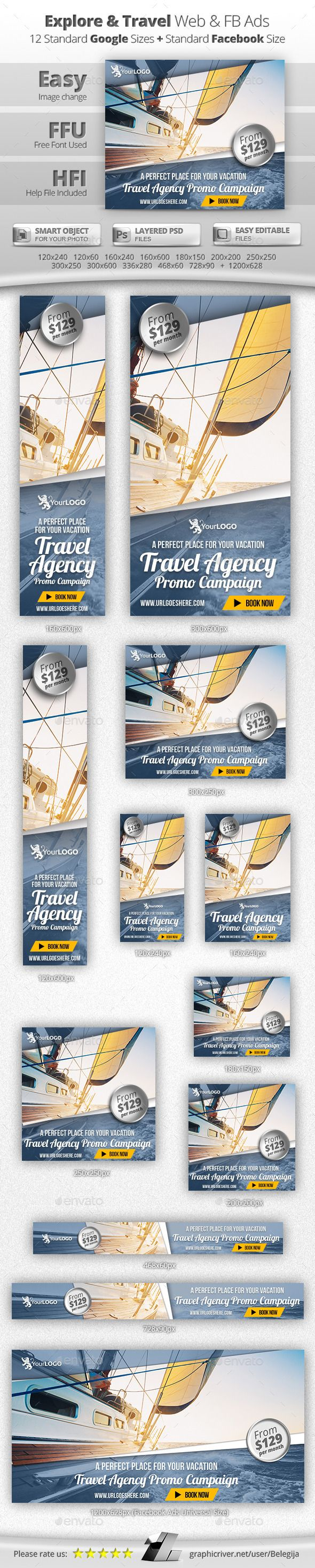 Explore & Travel Web & Facebook Banners Template PSD #design #ads Download: http://graphicriver.net/item/explore-travel-web-facebook-banners/13182391?ref=ksioks