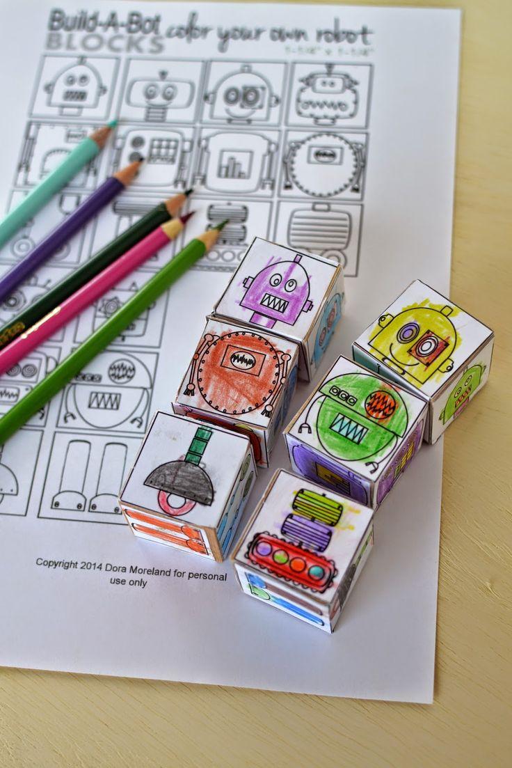 Plenty of Paprika: DIY Mix & Match Color Your Own Robot Blocks For Kids (FREE Printable)