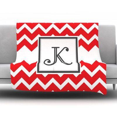 "KESS InHouse Monogram Chevron Red Throw Blanket Size: 80"" L x 60"" W, Letter: V"