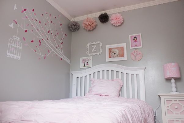 pink and grey girls room | Pink and Gray Girl's Room, This was a surprise room for our 5 year old ...