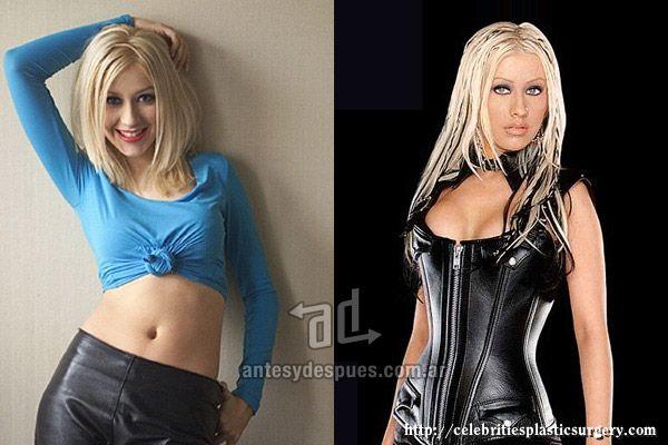 Cristina Aguilera antes y después de su aumento de senos. #farándula #cirugía