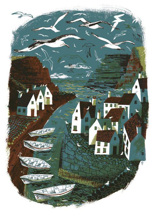 matt dawson, fishing village at staithes, printmaking, print, colour, seagulls, illustration, editorial, seaside, artwork
