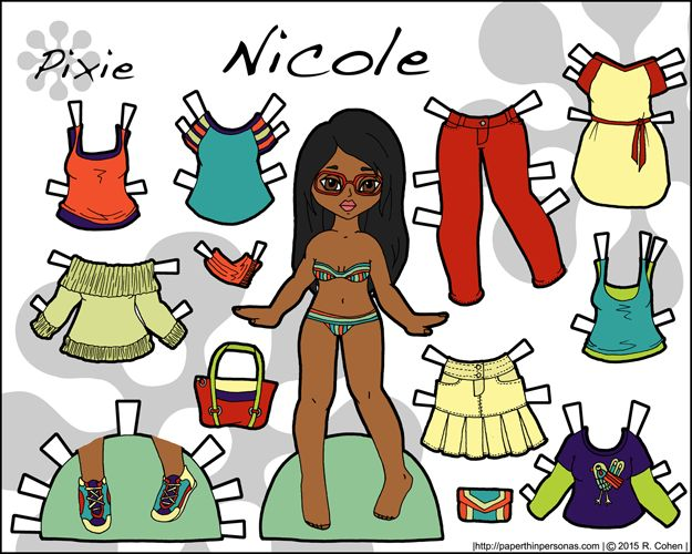 Link to Nicole, a paper doll with a contemporary wardrobe. Part of the Pixie series, Nicole can share clothing with the other Pixie paper dolls