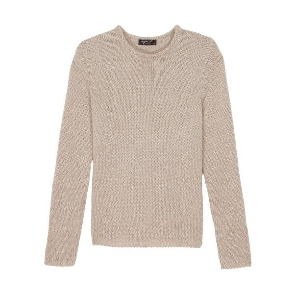 agnès b. light brown meline pullover (22,120 PHP) ❤ liked on Polyvore featuring tops, sweaters, brown, long sleeve tops, long pullover sweater, long knit sweater, long sleeve sweater and pink jumper