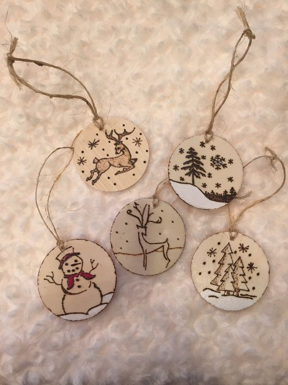 Wood Burned Christmas Ornaments-BABY'S First Christmas- rustic-reindeer, snowman, trees, snow painted snowflakes, wood slice