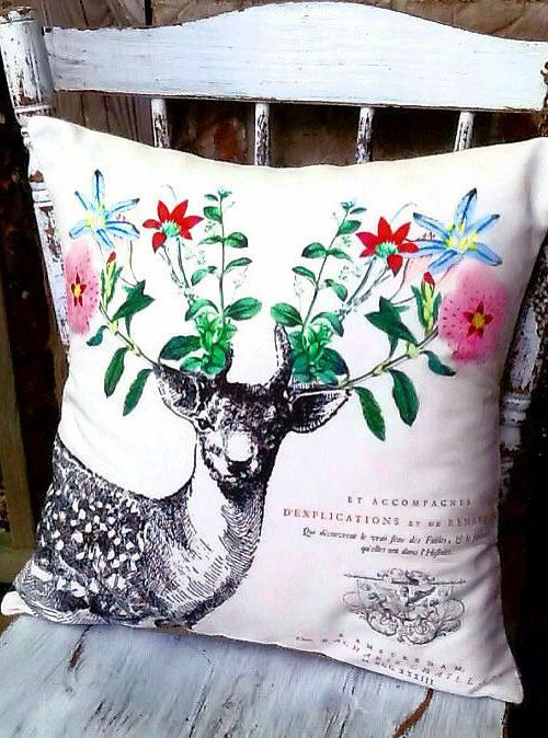 Pillow Cover Deer Pillow Cotton and Burlap Pillow