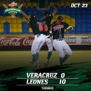 Mérida, Yuc. (www.leones.mx / Mario Serrano) 23 de octubre.- Los Leones de Yucatán explotaron a la ofensiva para vencer 10-0 a Rojos del Águ...