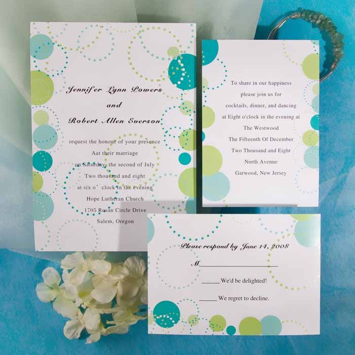 Discount simple green polka dots wedding invitations