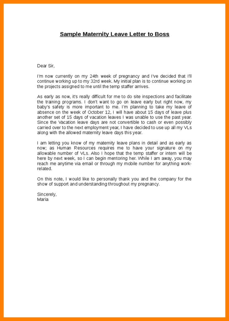 sample maternity leave letter cover title page example request - maternity leave letter