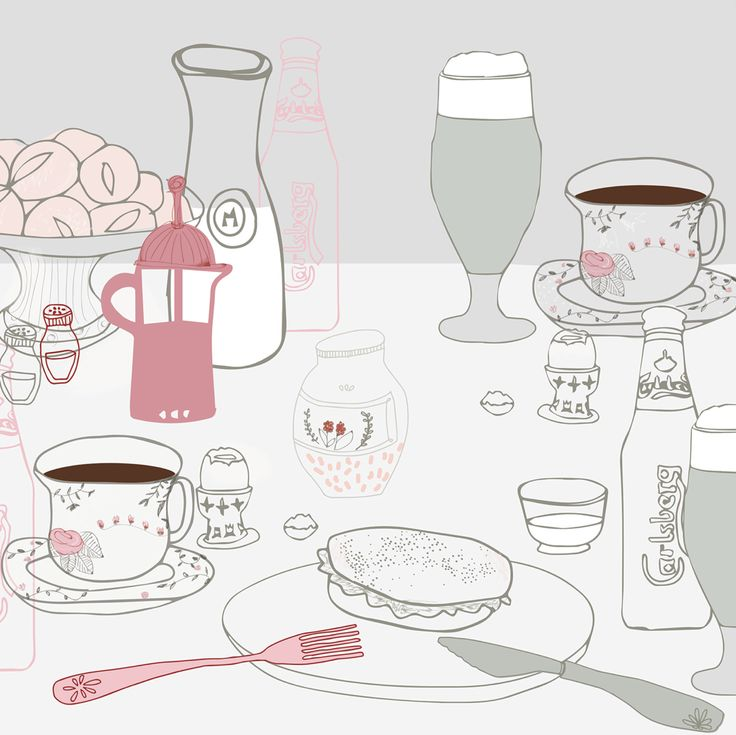 Editorial illustration by Vibeke Høie, #magazine #illustration #vibekehoie #breakfast #drawing #pastelcolours