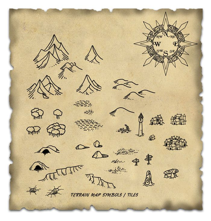 Terrain Map Symbol / Tiles cartography icons | Create your own roleplaying game material w/ RPG Bard: www.rpgbard.com | Writing inspiration for Dungeons and Dragons DND D&D Pathfinder PFRPG Warhammer 40k Star Wars Shadowrun Call of Cthulhu Lord of the Rings LoTR + d20 fantasy science fiction scifi horror design | Not Trusty Sword art: click artwork for source