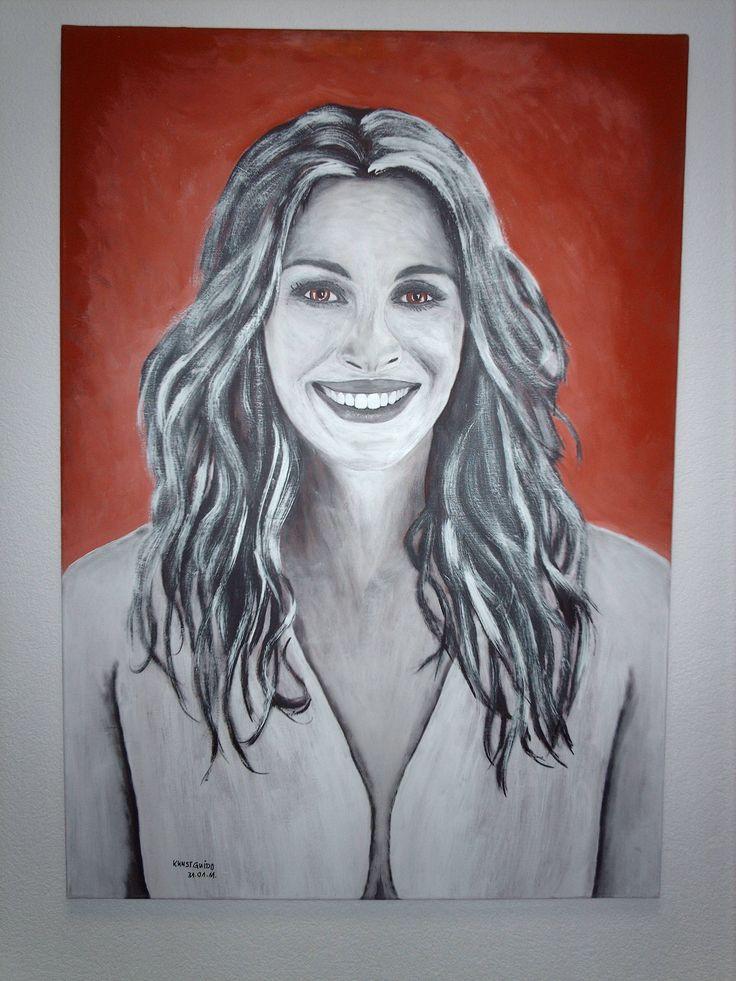 """Das ist """"Julia Roberts"""". Ebenfalls eine berühmte Hollywood- Schauspielerin. Auch gemalt in Acryl auf Leinwand, 80x100x2cm groß. Eine tolle Rolle zB. in dem Film, ERIN BROKOWITCH"""" als Hauptdarstellerin,...kg"""