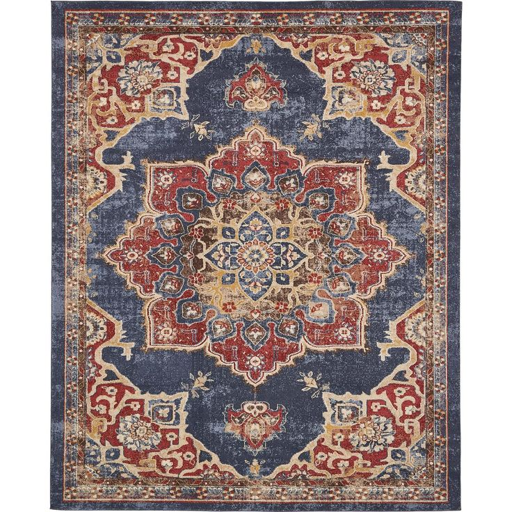 $215 8 x 10 joss and main persian rug slightly distressed with blues and reds